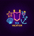 sea vacation neon label vector image
