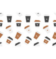 seamless pattern with plastic coffee cup vector image vector image