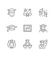 set line icons graduation vector image vector image
