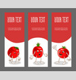 set of vertical narrow banners with vegetable vector image vector image