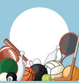 set sport balls equipment icon vector image vector image