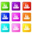 small ship set 9 vector image vector image