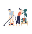 smiling young man and woman cleaning house vector image vector image