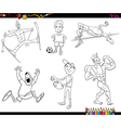 sportsmen cartoon coloring page vector image vector image