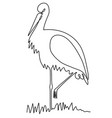 stork one line drawing vector image vector image