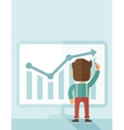Successful businessman with a chart going up vector image