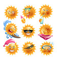 sun smiles summer holiday vacation cartoon vector image vector image