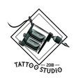 tattoo studio design in black and white vector image vector image