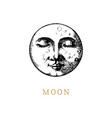 the moon hand drawn in engraving style vector image vector image