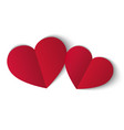 two red papper hearts isolated on white background vector image vector image