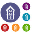 two-storey house with balconies icons set vector image vector image