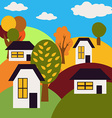 Autumn Landscape Village on Hills with Houses and vector image