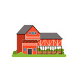 farm house and barn agricultural building vector image
