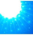 Blue shining sun with flares vector image vector image