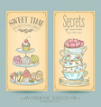 card collection pastries and tea vector image vector image
