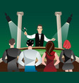 casino and roulette with men women and croupier vector image vector image