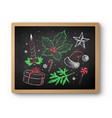 chalk drawn christmas set on blackboard vector image