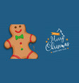 christmas new year gingerbread man cartoon banner vector image