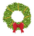 christmas wreath decoration icon ornament for vector image