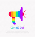 coming out icon magaphone in rainbow colors vector image