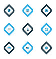 computer icons colored set with cpu shield man vector image vector image