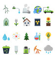 different green symbols on the ecology theme vector image