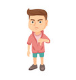 disappointed caucasian boy with thumb down vector image