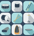 Drum flat icons vector image