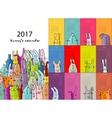 Funny rabbits Design calendar 2017 vector image vector image