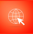 go to web icon isolated globe and cursor vector image