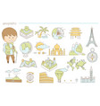 hand drawn icons of landscape maps and vector image