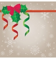 Holiday background with holly berries vector image vector image
