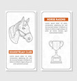 horse sport cards templates with place for text vector image vector image