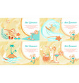 hot summer web banner with entertainment kinds vector image vector image
