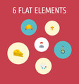 icons flat style cheese artist croissant and vector image vector image