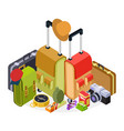 isometric travel luggage vector image