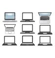 laptop computer set icons symbols vector image vector image