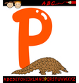 letter p for pangolin cartoon vector image vector image