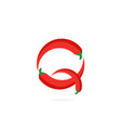 logo red chili pepper letter q vector image vector image