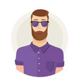 man character hipster face avatar in glasses vector image