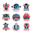 mars project labels set mars colonization program vector image vector image