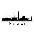 Muscat City skyline black and white silhouette vector image vector image
