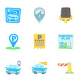 parking area icons set cartoon style vector image vector image