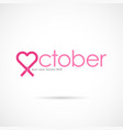 Pink heart ribbon signbreast cancer october