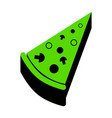 pizza simple sign green 3d icon with vector image vector image