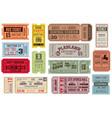 retro tickets vintage cinema ticket concert vector image vector image