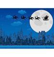 Santas sleigh over urban skyline vector image vector image