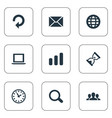 set simple apps icons vector image