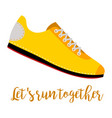 shoes with text lets run together vector image vector image
