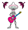 skull with guitar vector image vector image